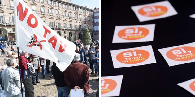 A sinistra una manifestazione No Tav, a destra gli adesivi preparati per la manifestazione delle persone favorevoli ala Tav