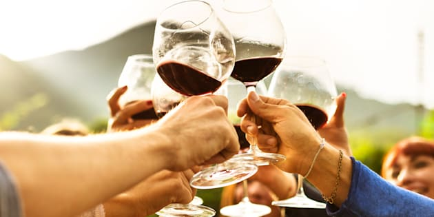 Un grupo de amigos brindando con vino tinto.