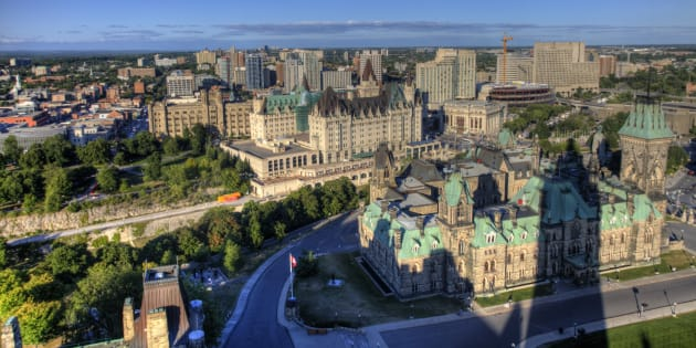 The tower on Parliament Hill's Centre Block casts a shadow on downtown Ottawa. The city ranks as the best place in Canada to find work, according to a ranking from Bank of Montreal.