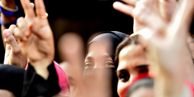 Women from Muslim community celebrate after verdict given by Supreme Court  for Ban of Triple Talaq.