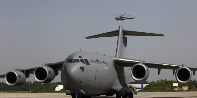 Boeing C-17 Globemaster III heavy-lift transport aircrafts standing at Hindon Airbase during its induction into Indian Air Force on September 2, 2013 in Ghaziabad, India.