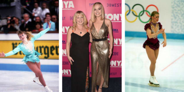 Tonya Harding in 1991, with actress Margot Robbie in 2017, and at the Lillehammer Olympics in 1994.