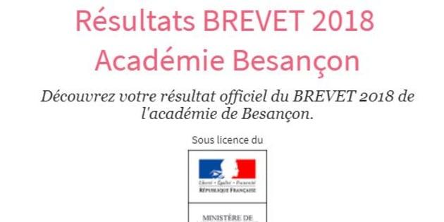 Les résultats du Brevet 2018 de l'académie de Besançon