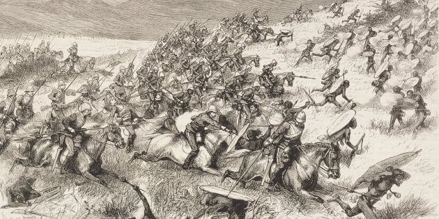 Charge of the 17th Lancers at the battle of Ulundi, Anglo-Zulu War, illustration from the magazine The Graphic, volume XX, no 512, September 20 1879.