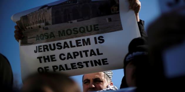 Imagen de archivo de una protesta en EE UU contra el reconocimiento de Jerusalén como capital de Israel.