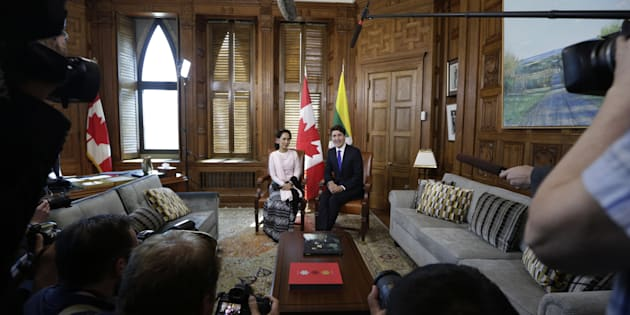 Justin Trudeau meets with Aung San Suu Kyi at Parliament Hill in Ottawa on June 7, 2017.