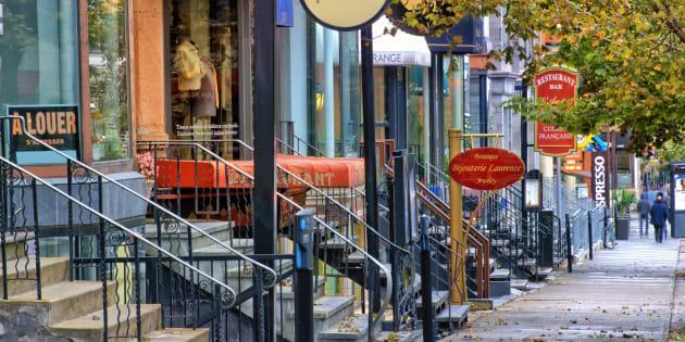 Photo d'archives de boutiques sur la rue Crescent à Montréal.