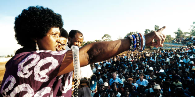 A picture taken on April 13, 1986 shows Winnie Madikizela-Mandela, then-wife of an imprisoned Nelson Mandela, addressing a meeting in Kagiso township.