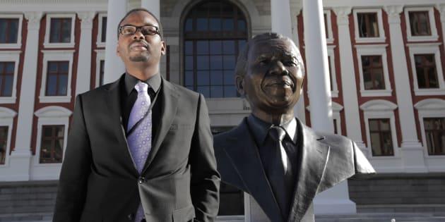 Zakhele Mbhele outside Parliament.
