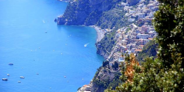 Positano city view and turquoise Amalfi Coast, Bay of Naples - Italy