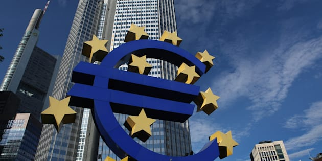 The Euro logo ,by German visual artist Ottmar Horl, in front of the Eurotower in Frankfurt am Main, Germany. The trade deal between Canada and the European Union comes into force on Thursday.