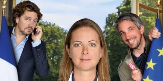 """La bande de l'émission """"Par Jupiter"""" aux commandes d'une émission foot pour le match France-Belgique en Coupe du Monde."""