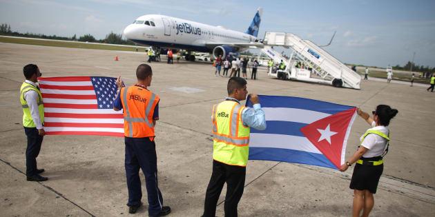 Les premiers vols commerciaux réguliers entre les Etats-Unis et La Havane doivent décoller ce lundi 28 novembre. Le 31 août dernier, la compagnie JetBlue avait inauguré le premier vol commercial entre Cuba et les Etats-Unis depuis 50 ans (ici en photo).