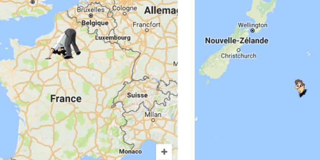 La carte indique le lieu qui se situe, par rapport à votre position, à l'autre bout de la planète.