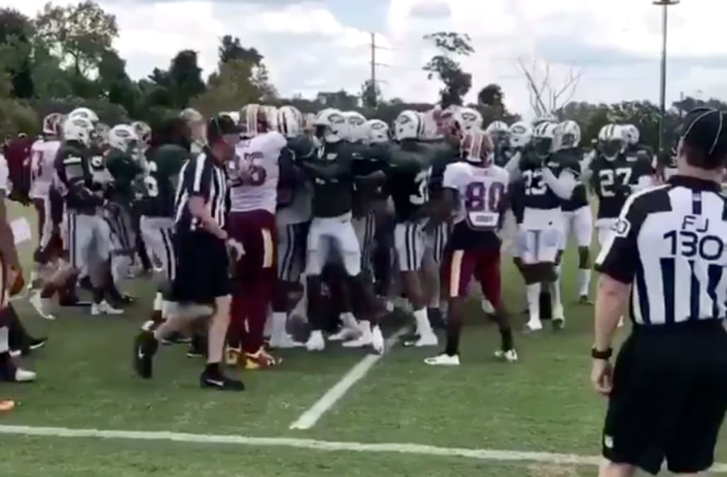 Nfl Fights Break Out Among Bills Jets And Redskins Training Camps