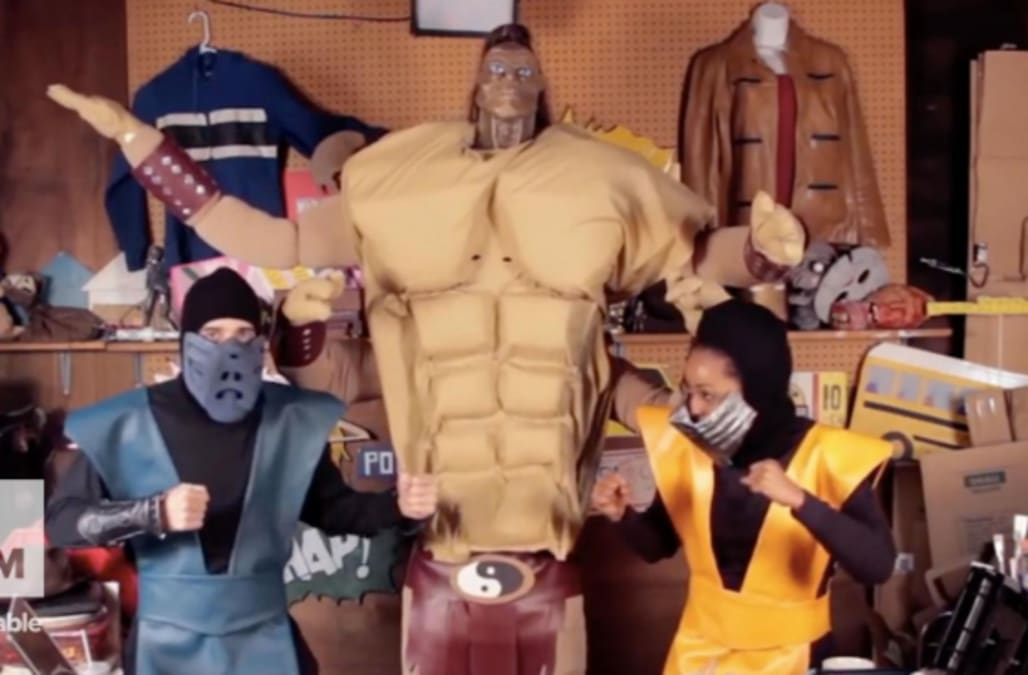 Homemade Mortal Kombat Costumes Of Scorpion And Goro Aol Games