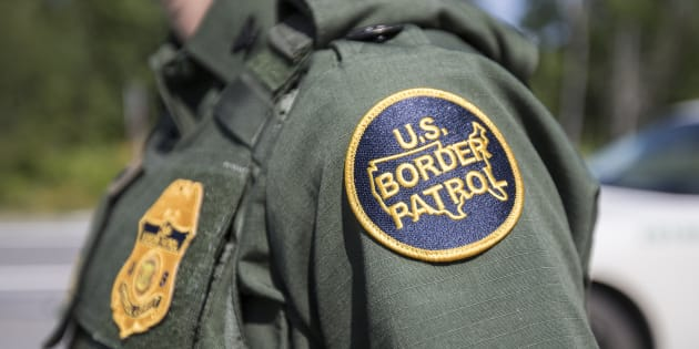A patch on the uniform of a U.S. Border Patrol agent at a highway checkpoint on Aug. 1, 2018 in West Enfield, Maine, approximately 129 kilometres from the U.S.-Canada border.