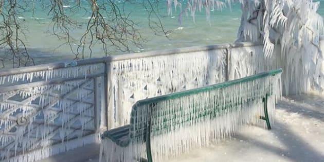 Neige et froid: les images féeriques des rives gelées du lac Léman