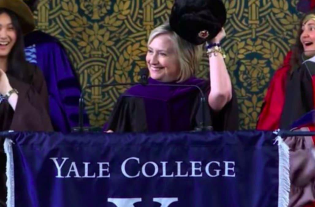 faf3006de0c38f Clinton trolls Trump by parading Russian hat at Yale graduation speech