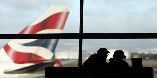 A British Airways Boeing 747 passenger aircraft prepares to take off as passengers wait to board a flight in Cape Town International airport in Cape Town, South Africa, January 12, 2018.