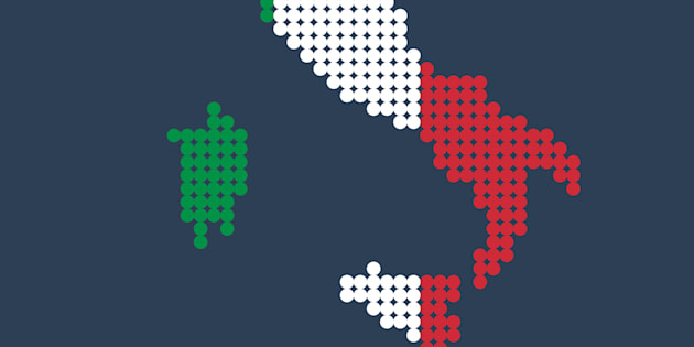 Style map of Italy in colors of Country. Vector illustration
