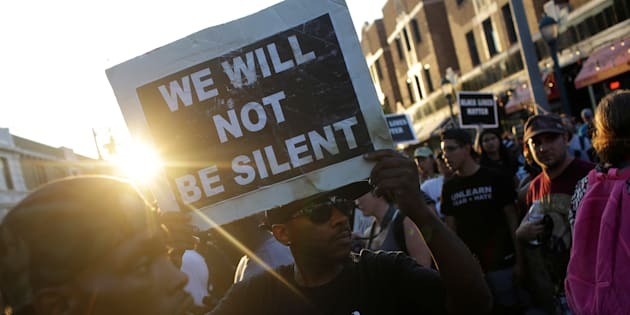 People march day after the not guilty verdict in the murder trial of Jason Stockley, a former St. Louis police officer, charged with the 2011 shooting of Anthony Lamar Smith, who was black, in St. Louis, Missouri, U.S., September 16, 2017.