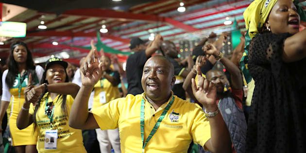 Delegates sing and chant slogans during the ANC's 54th National Conference at the Nasrec Expo Centre in Johannesburg, South Africa, on December 17 2017.