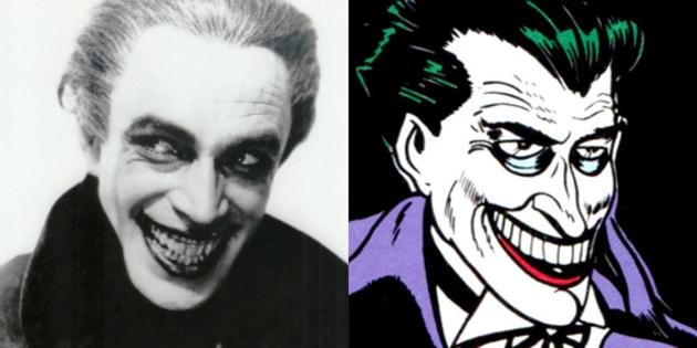 L'acteur Conrad Veidt et la première apparition du Joker dans Batman #1 en 1940 (dessiné par Bob Kane & Jerry Robinson)