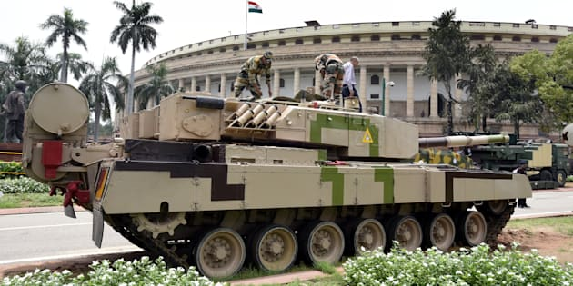 The Arjun tank stationed on the Parliament House premises for an exhibition in August 2016 in New Delhi, India.