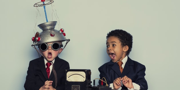 Two young boys are ready to brainstorm for your business.