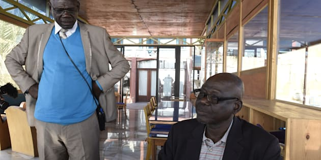 Clement Abai Fouta, left, and Chadian Souleymane Guengueng, pictured in Dakar, Senegal in 2015, survived torture under Chadian dictator Hissene Habré. Then they helped bringthe case that found him guiltythis week.