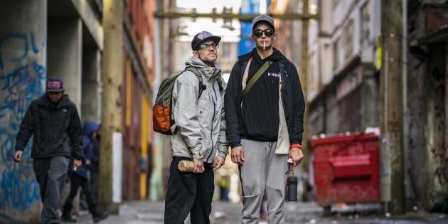 Dylan, 27, and friend Vinney Taylor, 23, outside pop-up injection site after getting high on street heroin in vancouver's Downtown Eastside January 30, 2018.