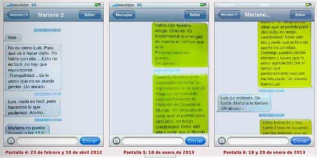 Los mensajes entre Bárcenas y Rajoy.