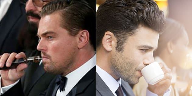 Actor leonardo Dicaprio vapes at an awards ceremony, and a man drinks coffee, the old fashioned way.