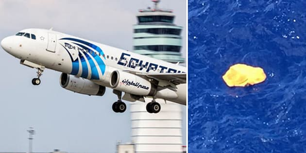 An EgyptAir Airbus 320 and wreckage found floating in the Mediterranean, which has not been linked to the flight.