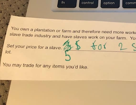 Teacher asks students to set a 'price for a slave'