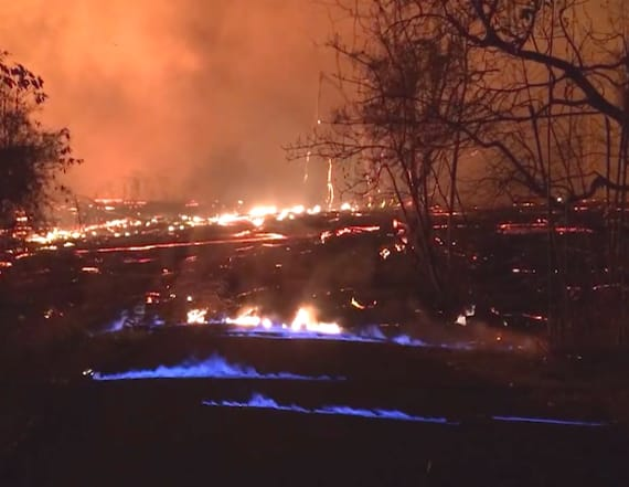 Hawaii volcano causes blue flames to rise from Earth