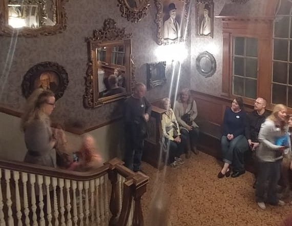 Man photographs eerie figure in haunted hotel