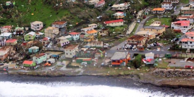 Les dommages causés par l'ouragan Maria en Dominique le 19 septembre 2017.