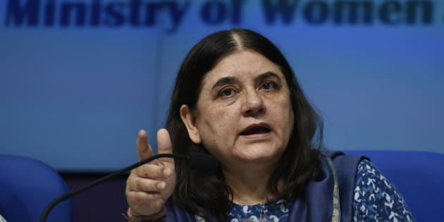 Union Women and Child Development Minister Maneka Gandhi releases the Draft Trafficking of Persons (Prevention, Protection and Rehabilitation) Bill 2016 on May 30, 2016 in New Delhi, India. The new bill aims to check human trafficking by unifying several existing laws, meting out tougher punishment for repeat offenders and ensuring the protection and rehabilitation of victims. (Photo by Vipin Kumar/Hindustan Times via Getty Images)