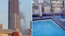 IL SISMA CREA L'ONDA IN PISCINA - Il video dall'interno del grattacielo di