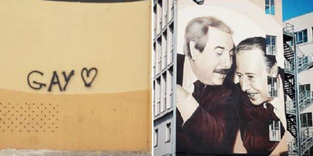 """Imbrattato con la scritta """"gay"""" il murale che a Pa"""