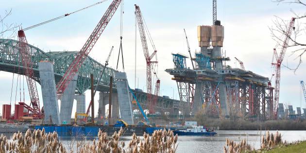 Les travaux sur le pont Champlain en novembre 2017.