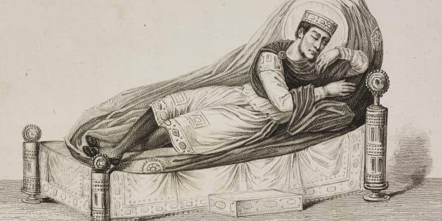Bed, engraving by Lemaitre from France, premiere partie, L'Univers pittoresque, published by Firmin Didot Freres, Paris, 1845.