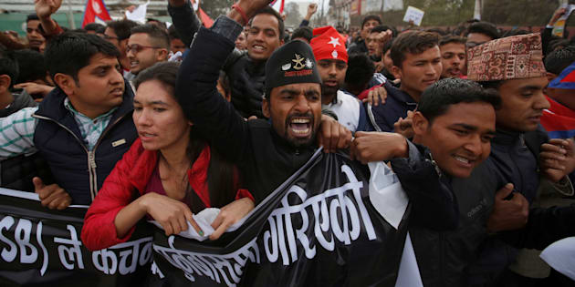 Nepalese students affiliated with the All Nepal National Free Students Union (ANNFSU), a student wing of the Communist Party of Nepal Unified Marxist Leninist (CPN-UML), protest near the Indian Embassy against the incident in which one Nepali man was killed at the India-Nepal border, in Kathmandu, Nepal March 10, 2017.