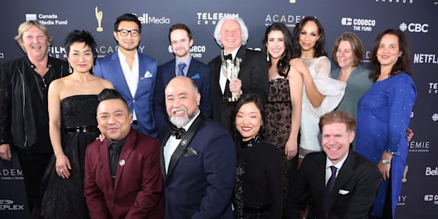 "Cast and crew of ""Kim's Convenience,"" who won for Best Comedy series at the 2018 Canadian Screen Awards."
