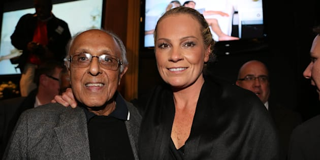 Ahmed Kathrada and Zelda la Grange.