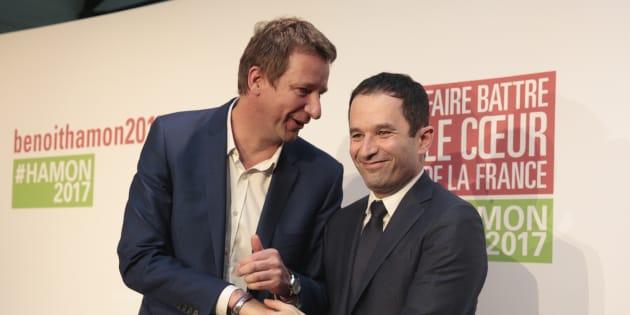 Alliés à la présidentielle Yannick Jadot (EELV) et Benoît Hamon (Générations) n'ont pas la même stratégie vis à vis de l'union de la gauche pour les européennes.