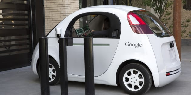 Google's self driving car enters the Google X Headquarters garage.
