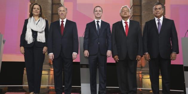 Margarita Zavala, Ricardo Anaya, José Antonio Meade, Andrés Manuel López Obrador, y Jaime Rodríguez, previo al inicio del debate presidencial en el Palacio de Minería.